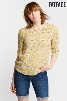 FatFace Yellow Sara Linear Poppies Blouse