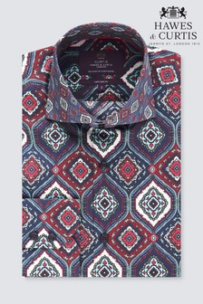 Hawes & Curtis Blue/Red Tile Print Shirt