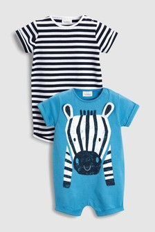 Zebra And Stripe Rompers Two Pack (0mths-2yrs)