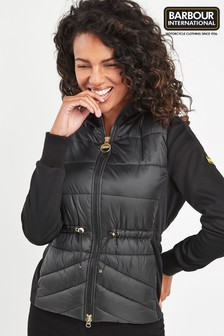 Barbour International Black Quilted Hybrid Sweat Jacket