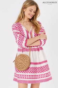 Accessorize Pink Patterned Jacquard Smock Dress
