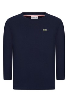 Lacoste Kids Boys Cotton Navy Long Sleeve T-Shirt