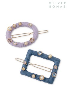 Oliver Bonas Purple Fabric Hair Clips Pack Of Two