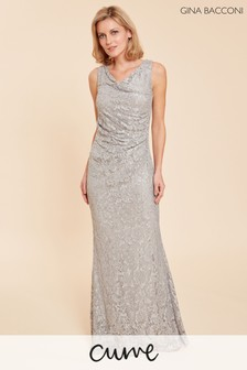 Gina Bacconi Grey Harlene Sequin Lace Maxi Dress