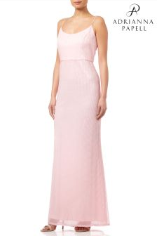 Adrianna Papell Pink Petite Pleated Sequin Dress