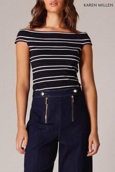 Karen Millen Blue Multi Stripe Collection T-Shirt