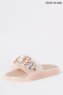 River Island粉色珠飾拖鞋