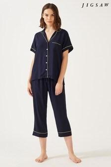 Jigsaw Blue Vivian Modal Crop Pyjamas