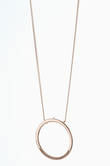Jewelled Circle Pendant Necklace