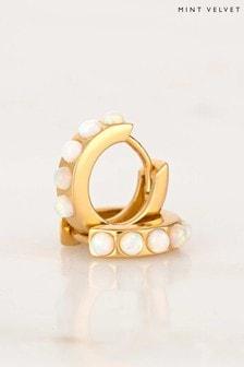 Mint Velvet Gold Tone Opal Huggie Hoop Earring