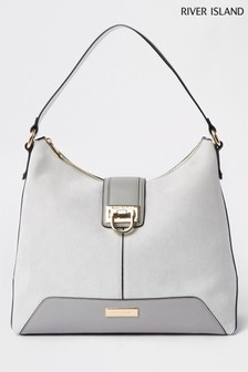 River Island Mid Grey Lock Front Slouch Bag d24644b2f1bb6