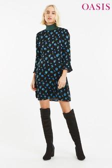 Niebieska sukienka w róże Oasis
