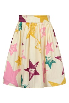 Girls Cream Organic Cotton Star Skirt