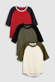 Raglan Three Quarter Sleeve T-Shirts Three Pack (3mths-6yrs)