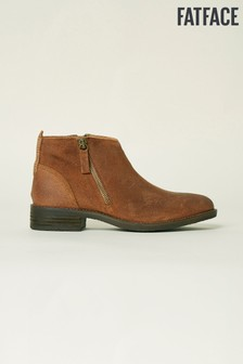 FatFace Brown Newbourne Suede Zip Ankle Boot