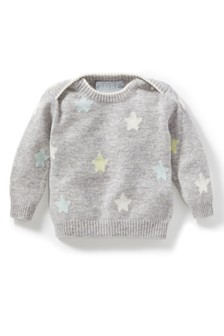 סוודר קשמיר אפור לתינוק של Pure Collection