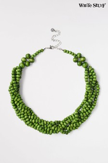 White Stuff Green Twisted Wooden Bead Necklace