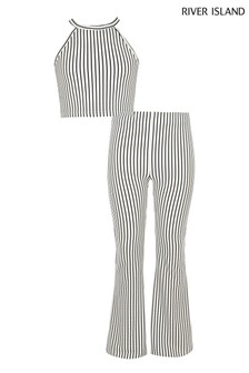 5a9bec402d River Island Stripe Crop Top And Flare Trouser Set