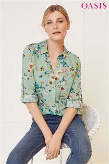 Oasis Green Fitzwilliam Dupont Long Sleeve Shirt