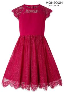 Monsoon Red Madrid Lace Dress