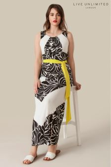 Live Unlimited Black And White Printed Maxi Dress With Belt