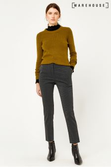 Warehouse Black/White Dot Classic Slim Leg Trouser
