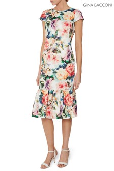 Gina Bacconi Red Seanna Floral Scuba Dress