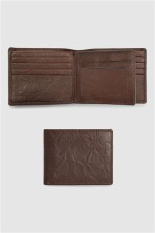 Creased Effect Leather Bifold Wallet