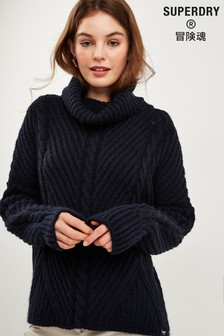 Superdry Navy Cable Knit Jumper