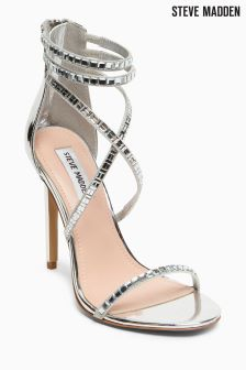 Steve Madden Bring It Silver Jewelled Strap Sandal