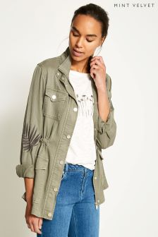 Mint Velvet Green Palm Leaf Embroidered Jacket