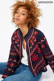 Monsoon Blue Tabatha Embroidered Jacket