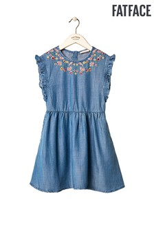 FatFace Blue Thea Embroidered Dress