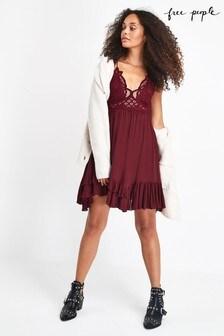 Free People Burgundy Adella Lace Slip Dress