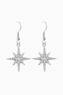 Sparkle Star Drop Earrings