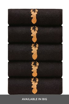 Gold Stag Embroidered Socks Five Pack