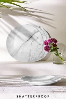 Set of 4 Marble Print Melamine Salad Plates