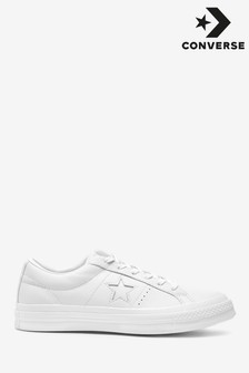 Converse White/White Leather One Star Trainers