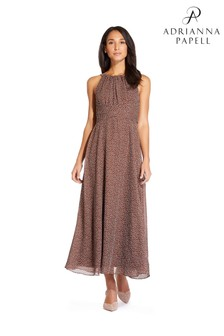 Adrianna Papell Brown Darling Dot Midi Dress