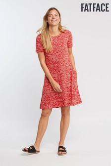 FatFace Red Simone Oriental Ditsy Dress