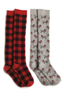 Check Dog Print Welly Socks Two Pack