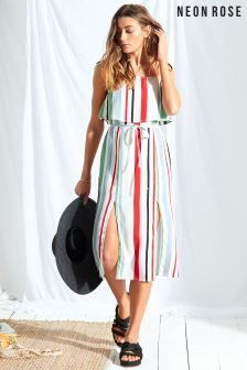 Neon Rose Multi Rio Stripe Double Layer Midi Dress