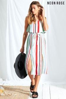 Neon Rose Multi Rio Stripe Double Layer Midi Dress