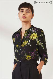 Warehouse Black Dutch Floral Chiffon Top