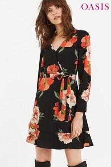 Oasis Black Bold Bloom Skater Dress