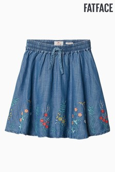 FatFace Blue Embroidered Woven Skirt