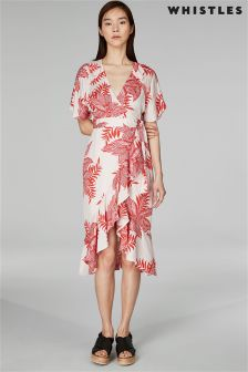Whistles Palmyra Print Abigail Frill Wrap Dress