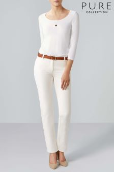 Pure Collection White Cotton Stretch Straight Leg Jean