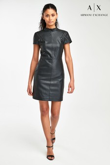 Armani Exchange Leather Effect Dress