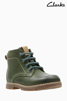 Clarks Olive Leather Comet Rock Lace-Up Ankle Boot